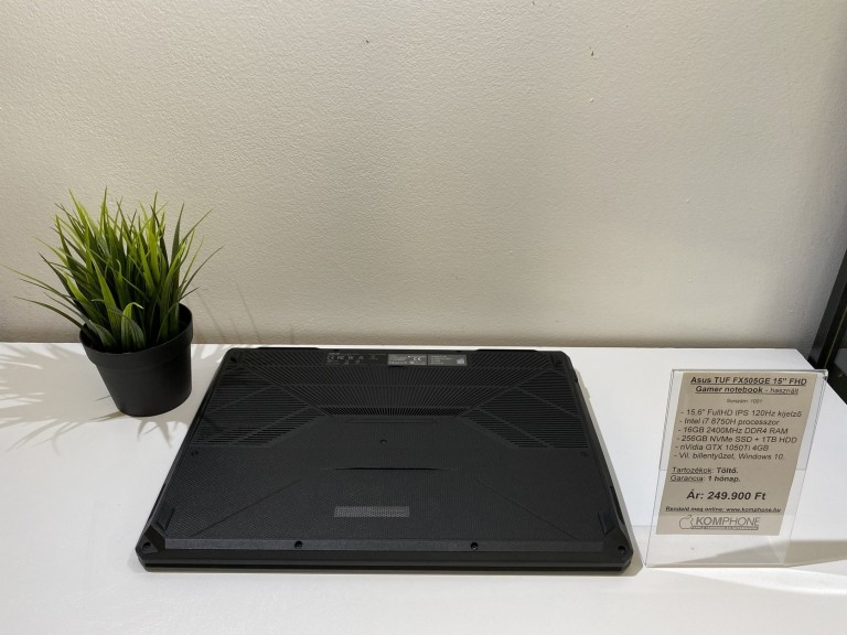 Asus TUF FX505GE Gamer - i7 8750H/16GB RAM/256GB NVMe SSD/1TB HDD/GTX 1050Ti 4GB/Win 10 - használt