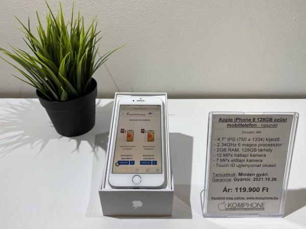 Apple iPhone 8 128GB ezüst kártyafüggetlen mobiltelefon, megkímélt, 100%-os akku - használt