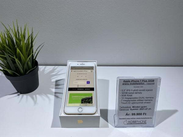 Apple iPhone 7 Plus 32GB arany színű mobiltelefon , full dobozos, gyártói garanciával - használt