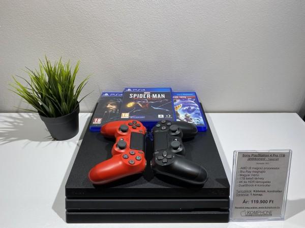 Sony PlayStation 4 Pro 1TB fekete( PS4 Pro ), megkímélt, hibátlan, 3 játék, 2 kontroller - használt