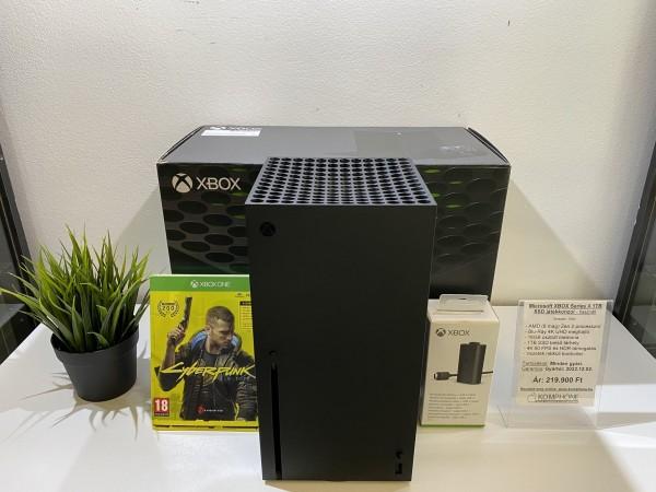 Microsoft XBOX Series X 1TB SSD játékkonzol, full doboz, Cyberpunk 2077 + akku - használt