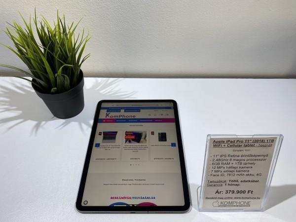 """Újszerű Apple iPad Pro 11"""" (2018) 1TB WiFi +4G asztroszürke tablet 100%-os akkumulátor - használt"""