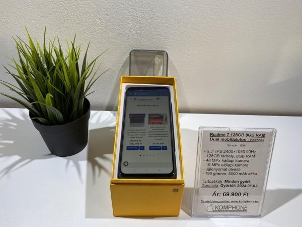 Realme 7 128GB 8GB RAM Dual mobiltelefon, független, full doboz, újszerű, pár hónapos! - használt