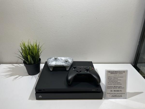 Microsoft Xbox One X 1TB játékkonzol, dobozos, gyári tartozékokkal, sok garanciával, 2 kontrollerrel - használt