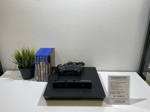 Sony PlayStation 4 500GB (FAT) fekete, megkímélt állapot, + Sony PS4 Camera + 6db játék - használt
