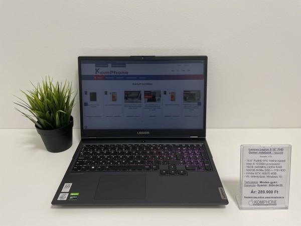 Lenovo Legion 5 notebook - 144Hz/i5 10300H/16GB/500GB SSD/1TB HDD/GTX 1650Ti 4GB/Win 10 - használt