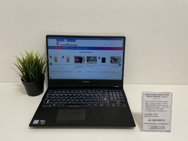 Lenovo Legion Y530 - i7 8750H/16GB DDR4/500GB NVMe SSD/1TB HDD/GTX 1050Ti 4GB - használt