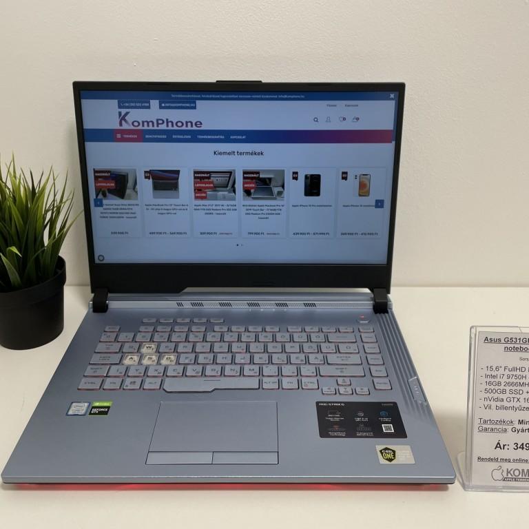 Asus G531GU Gamer - 144Hz/i7 9750H/16GB DDR4/500GB SSD/240GB SSD/GTX 1660Ti 6GB/Win 10 - használt