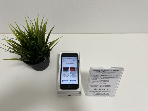 Apple iPhone SE 2020 64GB mobiltelefon, független, dobozos, normál állapotban. - használt
