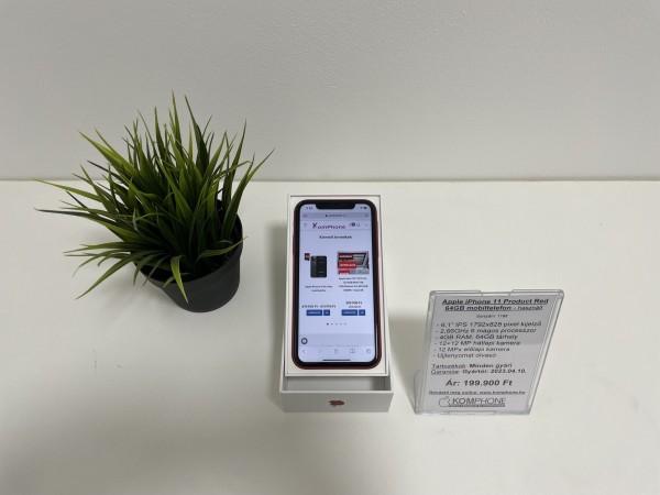 Apple iPhone 11 Product Red 64GB mobiltelefon, független, dobozos, újszerű állapotban - használt