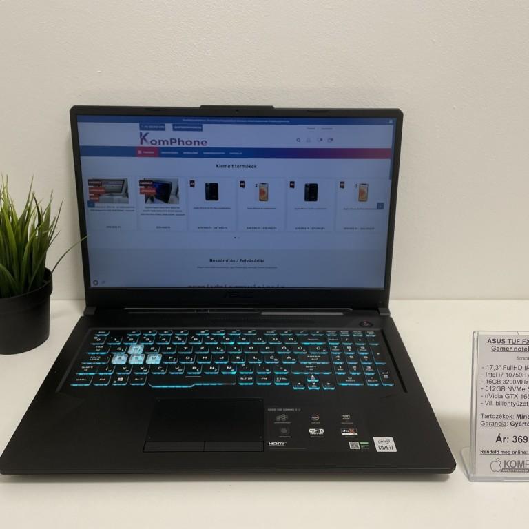 ASUS TUF FX706LI notebook - 120Hz/i7 10750H/16GB/512GB NVMe SSD/GTX 1650Ti 4GB/Win 10 - használt