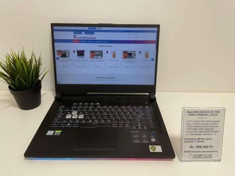 Asus G531GV Gamer notebook - 120Hz/i7 9750H/16GB RAM/1TB NVMe SSD/RTX 2060 6GB/Win 10 - használt