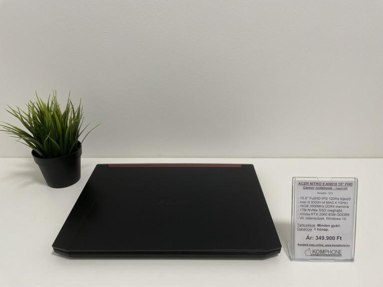 ACER NITRO 5 AN515 Gamer notebook - i5 9300H/16GB DDR4/1TB NVMe SSD/RTX 2060 6GB/Win 10! - használt
