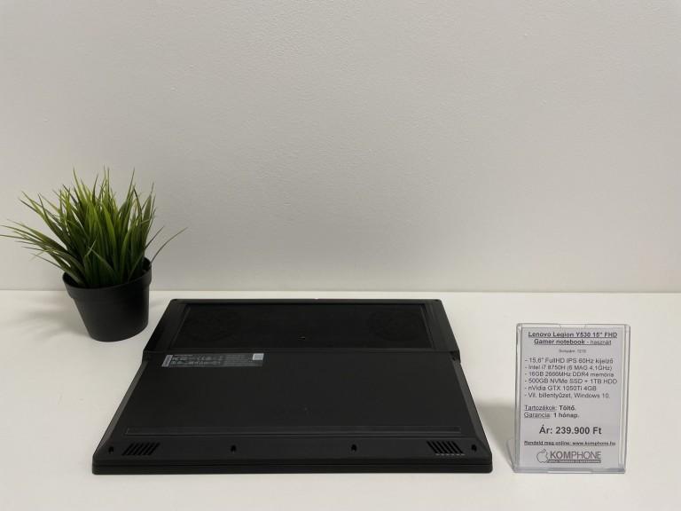 Lenovo Legion Y530 - i7 8750H/16GB DDR4/500GB SSD/1TB HDD/nVidia GTX 1050Ti 4GB/Win 10 - használt