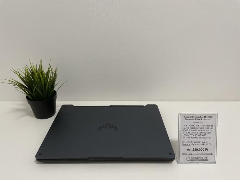 Asus FX506LI Gamer notebook - 144Hz/i5 10300H/16GB RAM/512GB SSD/GTX 1650Ti 4GB/Win 10 - használt