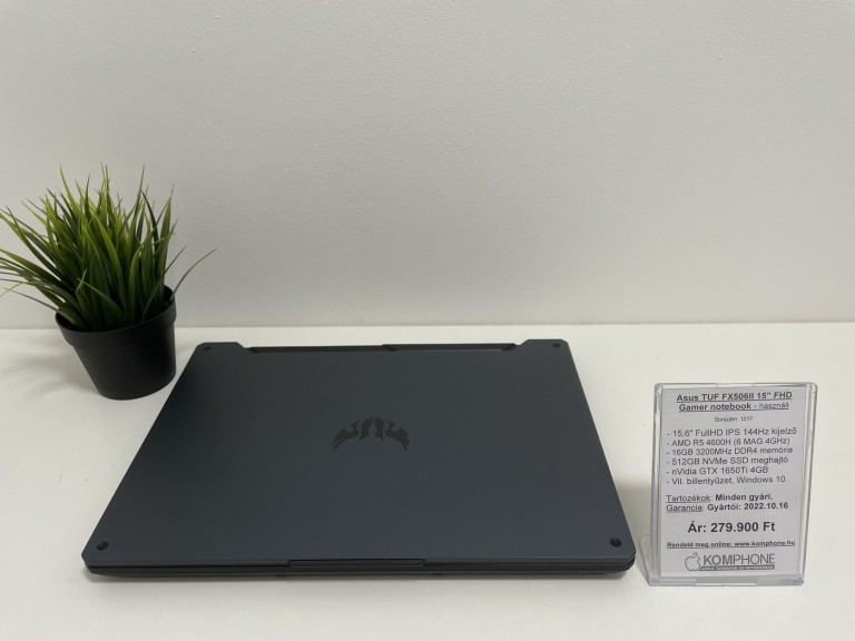 Asus FX506II Gamer notebook - 144Hz/R5 4600H/16GB RAM/512GB SSD/GTX 1650Ti 4GB/Win 10 - használt