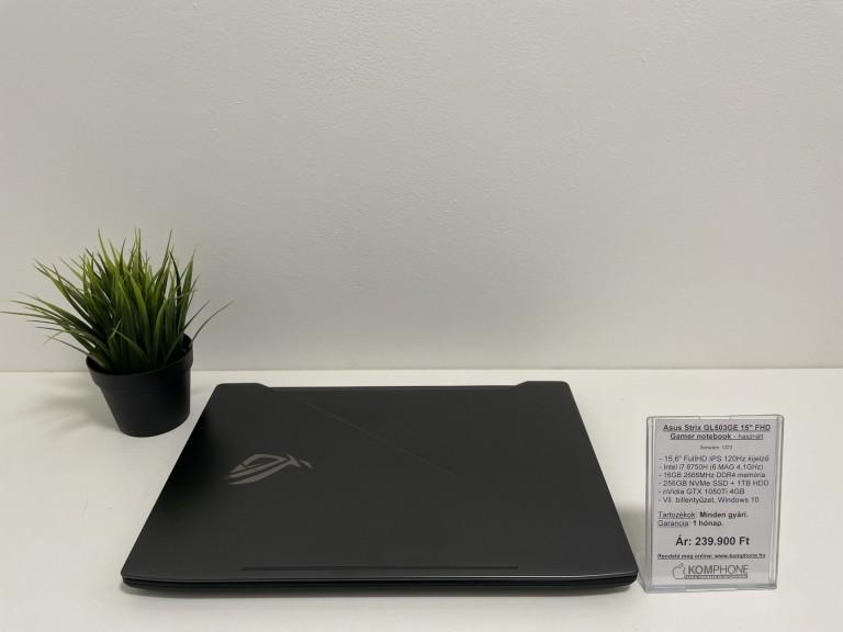 Asus Strix GL503GE - 120Hz/i7 8750H/16GB DDR4/256GB SSD/1TB HDD/GTX 1050Ti 4GB/Win 10 - használt