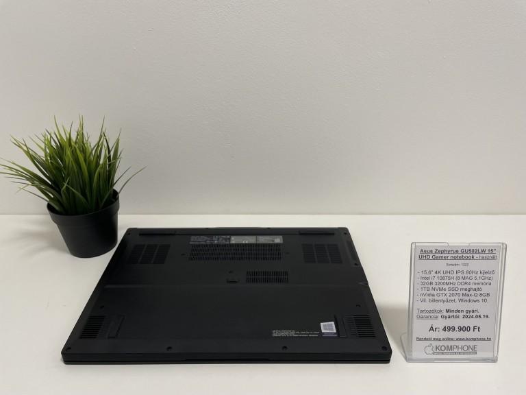 Asus Zephyrus GU502LW Gamer - i7 10875H/32GB DDR4/1TB NVMe SSD/RTX 2070 MQ 8GB/Win 10 - használt