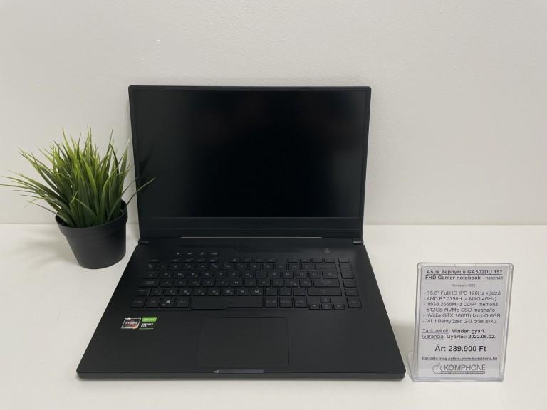 Asus Zephyrus GA502DU Gamer - R7 3750H/16GB DDR4/512GB NVMe SSD/GTX 1660Ti MQ 6GB - használt