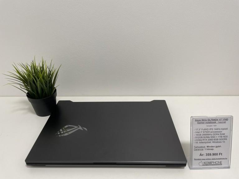 Asus STRIX GL704GV Gamer - 144Hz/i7 8750H/16GB DDR4/RTX 2060/512GB SSD/1TB HDD/Win. 10 - használt