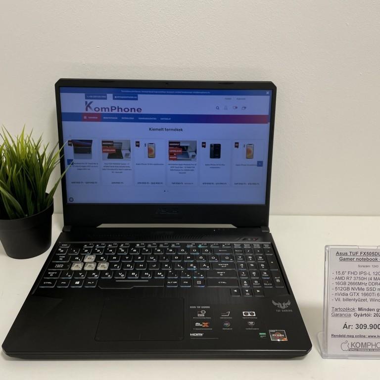 Asus TUF FX505DU Gamer - 120Hz/R7 3750H/16GB DDR4/GTX 1660Ti/512GB SSD/Win 10 - használt