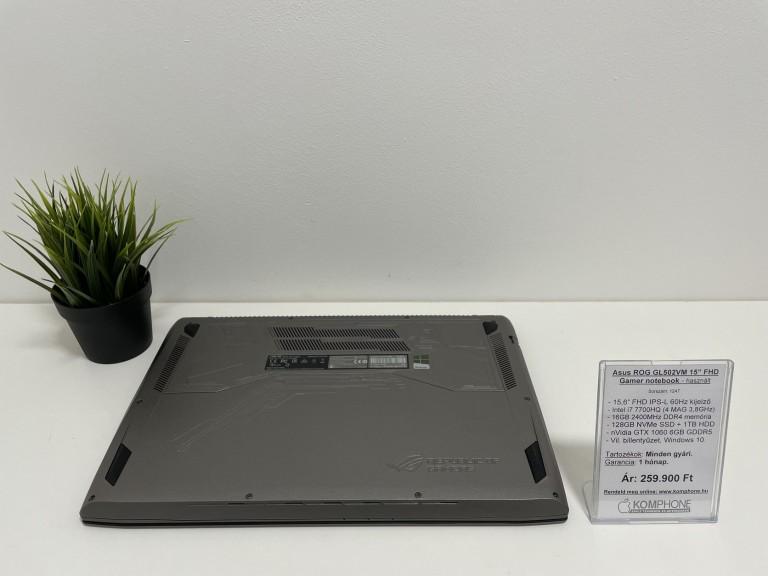 Asus ROG GL502VM Gamer - i7 7700HQ/16GB DDR4/128GB SSD/1TB HDD/GTX 1060 6GB/Windows 10 - használt