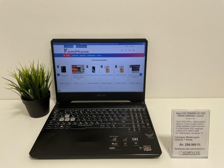 Asus TUF FX505DU Gamer - 120Hz/R7 3750H/16GB DDR4/512GB SSD/GTX 1660Ti/Win 10 - használt