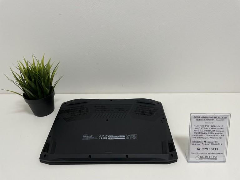 ACER NITRO 5 AN515 Gamer notebook - 144Hz/i5 10300H/16GB DDR4/512GB SSD/GTX 1650 4GB/W10 - használt