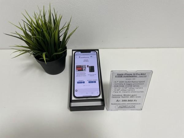Apple iPhone 12 Pro MAX 512GB mobiltelefon, független, dobozos, újszerű állapotban - használt