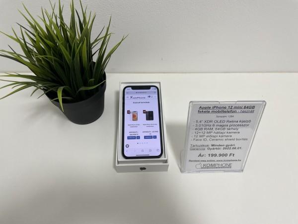 Apple iPhone 12 mini 64GB fekete mobiltelefon, független, dobozos, megkímélt állapotban - használt