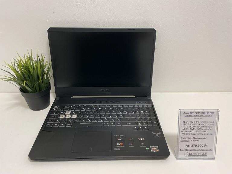 Asus TUF FX505DU Gamer - 120Hz/R5 3550H/16GB DDR4/512GB SSD/GTX 1660Ti/megkímélt - használt