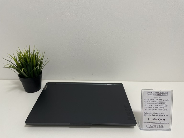 Lenovo Legion 5 Gamer - 144Hz/i5 10300H/8GB/256GB+512GB SSD/GTX 1660Ti 6GB/Win 10 - használt