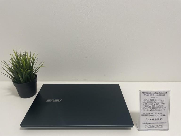 """Asus Zenbook Pro Duo 15"""" 4K fémházas - i9 9980HK/32GB DDR4/1TB SSD/RTX 2060 6GB/Win 10 - használt"""