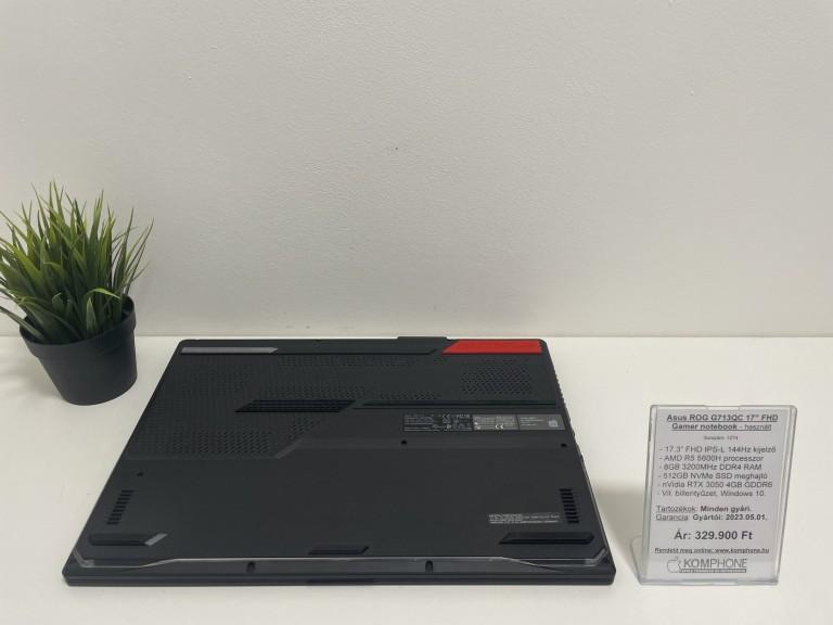 """Asus ROG G713QC 17"""" FHD Gamer - 144Hz/R5 5600H/8GB/512GB SSD/RTX 3050 4GB/Win 10 - használt"""