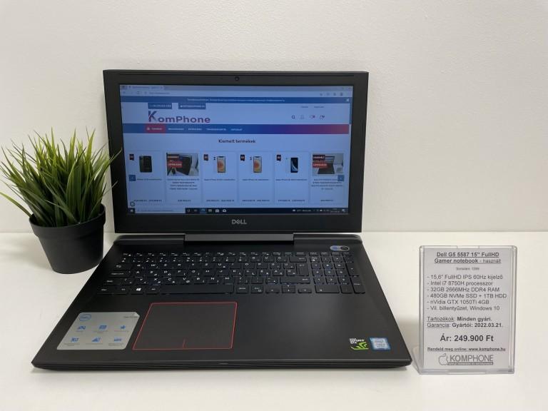 Dell G5 5587 Gamer - i7 8750H/32GB DDR4/480GB NVMe SSD/1TB HDD/GTX 1050Ti 4GB/Win 10 - használt