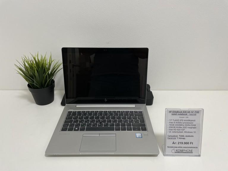 HP EliteBook 830 G5 üzleti notebook - FHD/i5 8350U/16GB DDR4/256GB NVMe SSD/Win 10 - használt