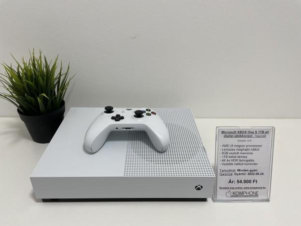 Microsoft Xbox One S 1TB all digital játékkonzol, dobozos, tartozékokkal, garanciával - használt